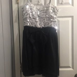 Black and silver homecoming dress